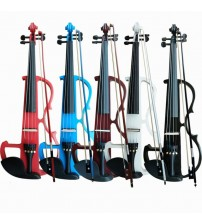 Full Size 4/4 Solid Wood Silent Electric Violin Fiddle Maple Body Ebony Fingerboard Pegs Chin Rest Tailpiece