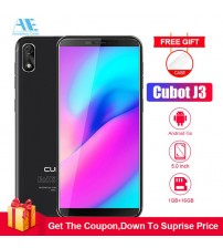 Cubot J3 5.0 Inch 18:9 Full Screen Cell phone MT6580 Quad core Android Go 1G RAM 16G ROM Dual SIM Card  Face ID 3G Mobile Phone