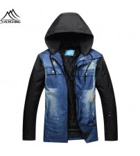 Denim Ski Jacket Men Waterproof
