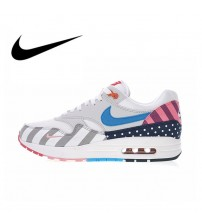 Nike Air Max 1 Parra White Multi Men's Running Shoes  Top Quality Athletic Designer Footwear