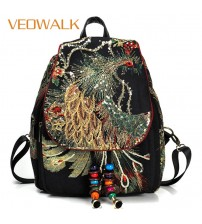 Veowalk Peacock Sequins Embroidered Women's Canvas Backpacks, Ladies Floral Rucksacks Woman Small School Back Bag Bagpack-in Backpacks from Luggage & Bags on AliExpress