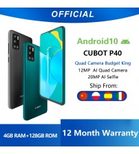 Cubot P40 Rear Quad Camera 20MP Selfie Smartphone NFC 4GB+128GB 6.2 Inch 4200mAh Android 10 Dual SIM Card mobile phone 4G LTE|Cellphones|   -