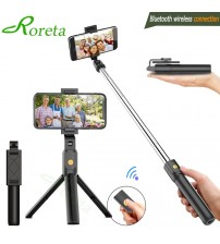 Roreta 3 in 1 Wireless Bluetooth Selfie Stick Foldable Mini Tripod Expandable Monopod with Remote Control for iPhone IOS Android|Selfie Sticks|   -