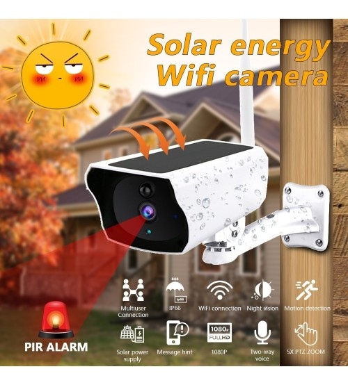 Solar WiFi IP Camera 1080P HD Outdoor Charging Battery Wireless Security Camera PIR Motion Detection Bullet Surveillance CCTV|Surveillance Cameras|   -