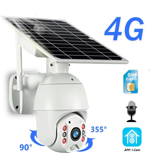 4G Solar Security Camera 1080P 3G SIM Card 8W Battery Powered Wireless Outdoor Camera PIR Motion Alarm Audio Surveillance Camera|Surveillance Cameras|   -