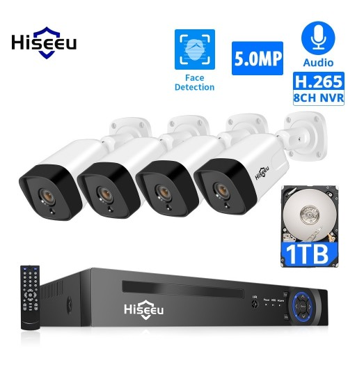 Hiseeu POE IP Camera Security System 5MP 8CH NVR AI Set H.265 Outdoor Weatherproof Audio 1T HDD P2P Video Surveillance Kit|Surveillance System|   -
