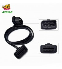 100CM 60CM Flat+Thin A Noodle OBDII OBD 2 OBD2 16 Pin ELM327 Male To Dual Female Y plitter Elbow Extenion Connector Cable