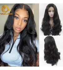 Yomagic Hair Body Wave Lace Front Wigs for Women Black Color Synthetic Hair Glueless Lace Wigs with Natural Hairline|Synthetic Lace Wigs|   - AliExpress