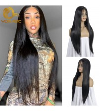 Yomagic  Black Color Synthetic Hair Lace Front Wigs with Baby Hair Straight Glueless Lace Wigs with Pre Plucked For Women|Synthetic Lace Wigs|   - AliExpress