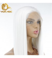 Yomagic White Color Synthetic Hair Lace Front Wigs for Women Natural Hairline For Cosplay Glueless Lace Wigs|Synthetic Lace Wigs|   - AliExpress
