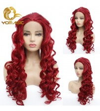 Yomagic Hair Red Color Lace Front Wigs for Women Party Body Wave Heat Resistant Fiber Synthetic Hair Wigs with Baby Hair|Synthetic Lace Wigs|   - AliExpress