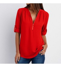 Zipper Short Sleeve Women Shirts 2021 Sexy V Neck Solid Womens Tops And Blouses Casual Tee Shirts Tops Female Clothes Plus Size|Blouses & Shirts|   - AliExpress