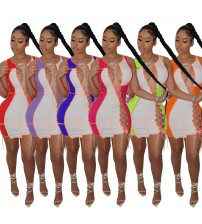 2021Dress for Women Summer Dress Sexy Dresses for Club Night Patchwork Hollow Out Slim Mini Dresses High Waisted Sexy Mini Dress|Dresses|   - AliExpress