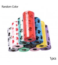 1 Roll/15 Pieces Random Color Portable Printing Pet Garbage Bag Cats and Dogs Clean Feces Environmental Protection Garbage Bag|Pooper Scoopers & Bags|   -