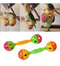 1/2PCS Parrot Toy Creative Rattle Bite Resistant Bird Bite Toy Parrot Chewing Toy Parrot Training Toy Double head Bell Ball Toy|Bird Toys|   -