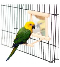 Wooden Pet Birds Toys with Mirror Fun Toy for Cockatiel Parrots Small Birds Toys Pet Parrots Climb Cage Accessories Bird Stand Bird Toys    -