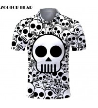 ZOOTOP BEAR 3D Printed Skull Polo Shirt Men  Brand Shirts For Man Quality Fit Casual Men's Shirts Streetwear New Arrival|Polo|   -