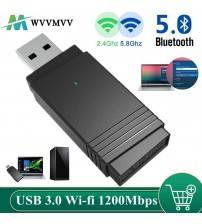 WVVMVV USB 3.0 Wi fi 1200Mbps Adapter Dual Band 2.4Ghz/5.8Ghz Bluetooth 5.0/WiFi 2 in 1 Antenna Dongle Adapter for Laptops PC|Network Cards|   -