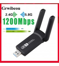 Wireless USB 1200Mbps WiFi Adapter Dual Band 2.4G/5Ghz Mini USB WIFI Lan Adapter Dongle 802.11ac Receiver For PC Laptop Desktop|Network Cards|   -