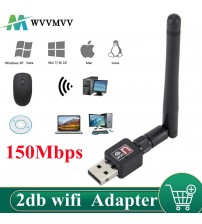 WVVMVV Wireless WiFi Network Card 150M USB 2.0 802.11 b/g/n LAN Antenna Adapter with Antenna for Laptop PC Mini Wi fi Dongle|Network Cards|   -