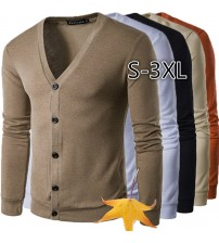ZOGAA New Brand Sweater Men V Neck Solid Slim Fit Knitting Mens Sweaters Cardigan Male 2019 Autumn Winter Fashion Casual Coats|Cardigans|   -