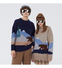 Youth Men Moutain Winter Wool Sweater Couple Pullover Mens O Neck Knitted Clothes Male Women Casual Harajuku Oversized Tops|Pullovers|   -