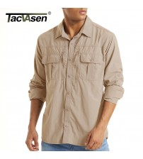 TACVASEN With 2 Chest Zipper Pockets Tactical Shirt Men's Quick Drying Skin Protective Long Sleeve Shirt Team Work Tops Outdoor|Casual Shirts|   -