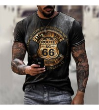 Summer New Mens T Shirts Oversized Loose Clothes Vintage Short Sleeve Fashion 66 Letters Printed O Collared Tshirts For Men|T-Shirts|   -