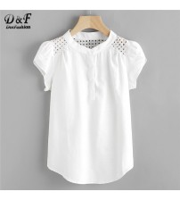 Eyelet Embroidered Panel Blouse