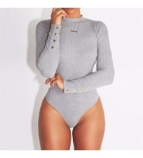 Long Sleeve O Neck Stretch Bodysuit