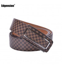 Designer Plaid Pattern Leather Belt