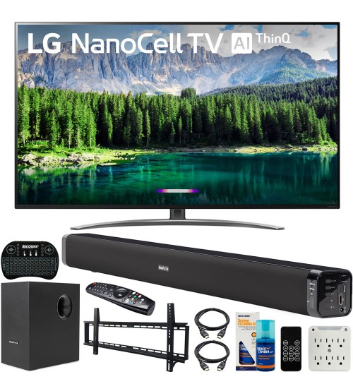 LG 49SM8600PUA 49-inch 4K HDR Smart LED NanoCell TV with AI ThinQ (2019) Bundle with Deco Gear Soundbar with Subwoofer, Wall Mount Kit, Deco Gear Wireless Keyboard and 6-Outlet Surge Adapter