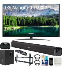LG 55SM8600PUA 55-inch 4K HDR Smart LED NanoCell TV with AI ThinQ (2019) Bundle with Deco Gear Soundbar with Subwoofer, Wall Mount Kit, Deco Gear Wireless Keyboard and 6-Outlet Surge Adapter