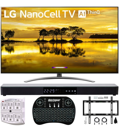 """LG 55SM9000PUA 55"""" 4K HDR Smart LED NanoCell TV w/ AI ThinQ 2019 Model with Home Theater 31"""" Soundbar, Wireless Backlit Keyboard, Flat Wall Mount Kit & SurgePro 6-Outlet Surge Adapter"""
