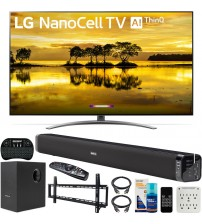 LG 65SM9000PUA 65 inch 4K HDR Smart LED NanoCell TV with AI ThinQ 2019 Model Bundle with Soundbar with Subwoofer, Wall Mount Kit Wireless Backlit Keyboard and 6-Outlet Surge Adapter