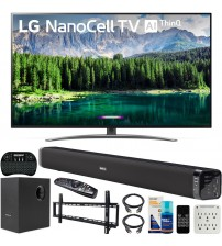 LG 75SM8670PUA 75 inch 4K HDR Smart LED IPS TV with AI ThinQ 2019 Model Bundle with Soundbar with Subwoofer, Wall Mount Kit Wireless Backlit Keyboard and 6-Outlet Surge Adapter