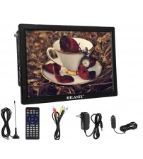 """Milanix 14.1"""" Portable Widescreen LED HDTV with HDMI, VGA, MMC, FM, USB/SD Card Slot, Built in Digital Tuner, AV Inputs, and Remote Control"""