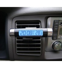 (Order 2 lots -25%) LCD Fashion Luminous Digital Car Desk Clip Clock Thermometer Time Automobile Electronic Watch Clocks