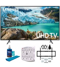 """Samsung 43"""" RU7100 LED Smart 4K UHD TV 2019 Model (UN43RU7100FXZA) with Slim Flat Wall Mount Kit Ultimate Bundle for 45-90 inch TVs, Screen Cleaner for LED TVs & SurgePro 6-Outlet Surge Adapter"""