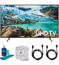 """Samsung 50"""" RU7100 LED Smart 4K UHD TV 2019 Model (UN50RU7100FXZA) with Universal Screen Cleaner for LED TVs Large Bottle, SurgePro 6-Outlet Surge Adapter & 2x HDMI Cable"""