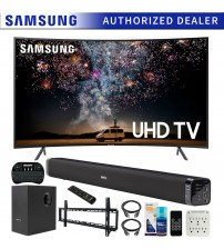 Samsung 55-inch RU7300 HDR 4K UHD Smart Curved LED TV (2019) Bundle with Deco Gear Soundbar with Subwoofer, Wall Mount Kit, Deco Gear Wireless Keyboard, Cleaning Kit and 6-Outlet Surge Adapter