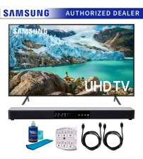 """Samsung 55"""" RU7100 LED Smart 4K UHD TV 2019 Model (UN55RU7100FXZA) with Screen Cleaner for LED TVs, SurgePro 6-Outlet Surge Adapter, 2x HDMI Cable & Home Theater 31"""" Soundbar"""