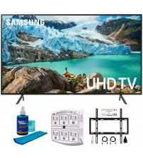 """Samsung 65"""" RU7100 LED Smart 4K UHD TV 2019 Model (UN65RU7100FXZA) with Flat Wall Mount Kit Ultimate Bundle for 45-90 inch TVs, Screen Cleaner for LED TVs & SurgePro 6-Outlet Surge Adapter"""