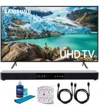 """Samsung 65"""" RU7100 LED Smart 4K UHD TV 2019 Model (UN65RU7100FXZA) with Screen Cleaner for LED TVs, SurgePro 6-Outlet Surge Adapter, 2x HDMI Cable & Home Theater 31"""" Soundbar"""
